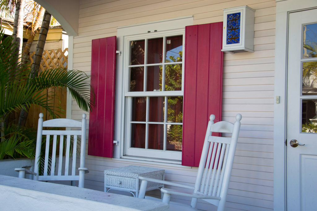 Window overlooking front porch of Florida home